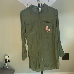 Dark green button down tunic with flamingo